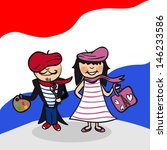 French man and woman cartoon couple with national flag background. - stock photo