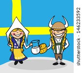 Swedish man and woman cartoon couple with national flag background. - stock photo