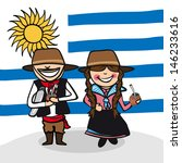 Uruguayan man and woman cartoon couple with national flag background. - stock photo