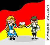 German man and woman cartoon couple with national flag background. - stock photo