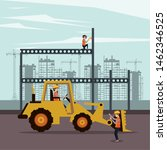 construction workers with vests ... | Shutterstock .eps vector #1462346525