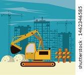 excavator in construction zone... | Shutterstock .eps vector #1462346585