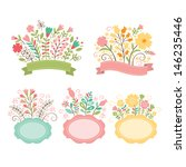 Set Of Floral Bouquets And...