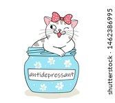 Stock vector furry antidepressant cute cartoon cat sitting in pill bottle hand drawn illustration 1462386995
