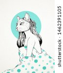hand drawn and sketch cat face... | Shutterstock . vector #1462391105
