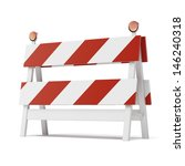 Roadblock Isolated On White...