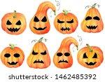 a set of halloween pumpkin jack ...   Shutterstock . vector #1462485392