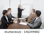 senior woman using whiteboard... | Shutterstock . vector #146249882