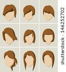 women hair style icon set | Shutterstock .eps vector #146252702