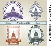 vintage stamp from washington... | Shutterstock .eps vector #146255552