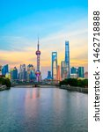 sunset view of Pudong in shanghai china