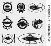 fish stamps and labels set.... | Shutterstock .eps vector #146280875
