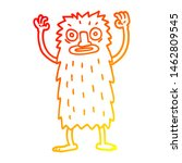 Stock photo warm gradient line drawing of a cartoon bigfoot creature 1462809545