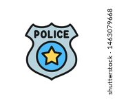 police badge flat color icon. | Shutterstock .eps vector #1463079668
