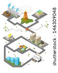 city. isometric buildings.... | Shutterstock .eps vector #146309048