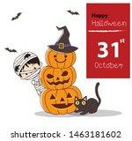 happy halloween greeting card.... | Shutterstock .eps vector #1463181602