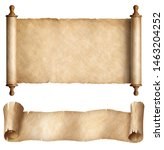 Small photo of Paper or parchment horizontal scrolls set isolated on white