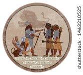 sumerian civilization frescos....   Shutterstock .eps vector #1463210525