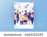 friends group photo posting in... | Shutterstock .eps vector #1463225192