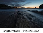 Landscape at dusk in the Portio Beach. Liencres. Cantabria. Spain.
