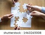top view of hands of diverse... | Shutterstock . vector #1463265008