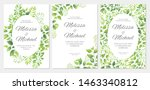 wedding invitation with green... | Shutterstock .eps vector #1463340812