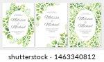 wedding invitation with green... | Shutterstock .eps vector #1463340812