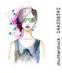 stylish illustration of a girl... | Shutterstock . vector #146338592