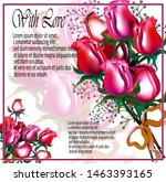 floral invitation card with red ... | Shutterstock . vector #1463393165