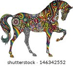 Stock vector horse and rainbow 146342552