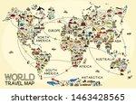 world travel line icons map. ... | Shutterstock .eps vector #1463428565