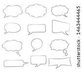 speech bubbles set. doodle... | Shutterstock .eps vector #1463444465