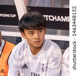 Small photo of East Rutherford, NJ - July 26, 2019: Takefusa Kubo (26) of Real Madrid sits on bench during game against Atletico Madrid as part of ICC tournament at Metlife stadium Atletico won 7 - 3