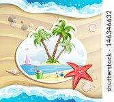 summer beach with palm trees ...   Shutterstock .eps vector #146346632
