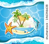 summer beach with palm trees ...   Shutterstock .eps vector #146346638