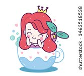 cute princess mermaid vector... | Shutterstock .eps vector #1463518538