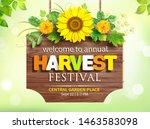wooden signboard with harvest... | Shutterstock .eps vector #1463583098