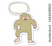 Stock photo cartoon bigfoot with speech bubble sticker 1463638502
