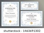 certificate template set floral ... | Shutterstock .eps vector #1463691302