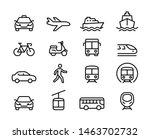 Set of Public Transportation Thin Line Icons