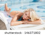 sun tanning. beautiful young... | Shutterstock . vector #146371802