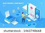 screen for electronic contract... | Shutterstock .eps vector #1463748668