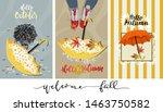 Stock vector set of cute cartoon autumn banner vector hello autumn with striped pattern umbellar autumn potplant 1463750582
