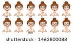 cute cartoon brunette girl on... | Shutterstock .eps vector #1463800088