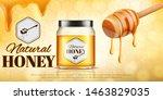 glass jar full of honey on... | Shutterstock .eps vector #1463829035