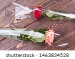 Two Roses On Wooden Background. ...