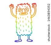 Stock photo rainbow gradient line drawing of a cartoon bigfoot creature 1463854352