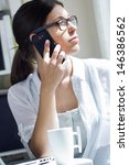 woman talking on mobile phone... | Shutterstock . vector #146386562