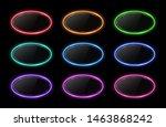 colorful neon oval frame set.... | Shutterstock .eps vector #1463868242