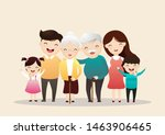 big happy family portrait.... | Shutterstock .eps vector #1463906465